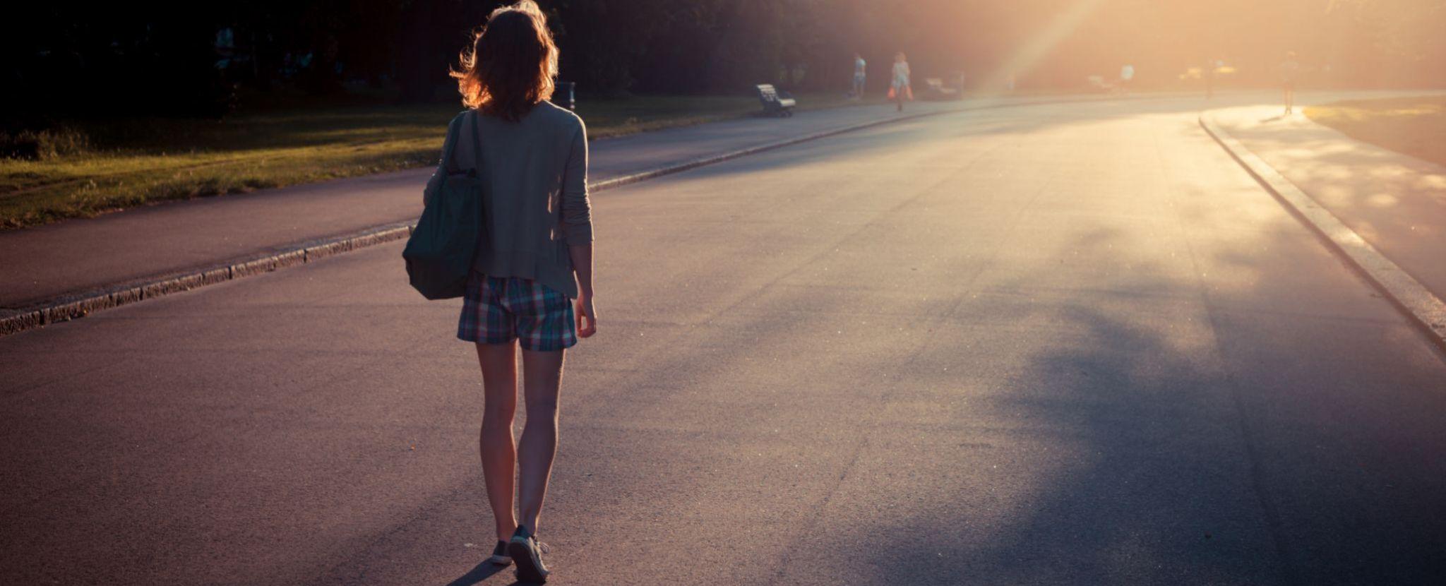 walking down a road